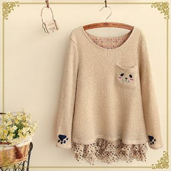 Fairyland - Animal Chiffon  Panel Knit Top