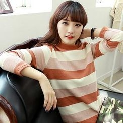 Dodostyle - Mock-Neck Stripe Long-Sleeve Top