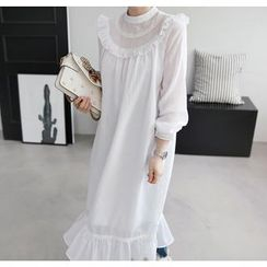 Miamasvin - Sheer-Yoke Frilled Long Dress