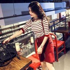 QZ Lady - Set: Frill Hem Striped Knit Top + Jumper Pencil Skirt
