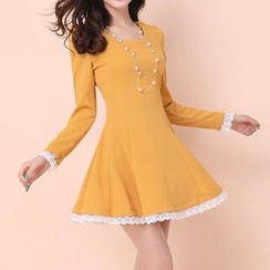 JVL - Long-Sleeved Lace Trim A-Line Dress