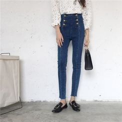 SUYISODA - High-Waist Skinny Pants