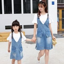 NINETTE - Parents and Kids Jumper Denim Dress