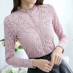 Falaso - Long-Sleeve Lace Blouse