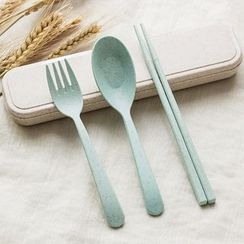Lover's Kiss - Set : Chopsticks + Spoon + Fork + Case