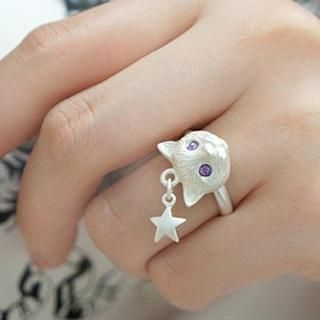 Cuteberry - Rhinestone Cat Ring