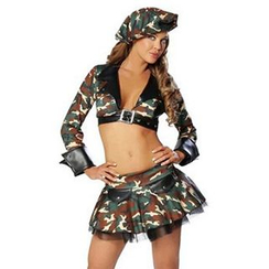 Cosgirl - Camouflage Army Party Costume Set