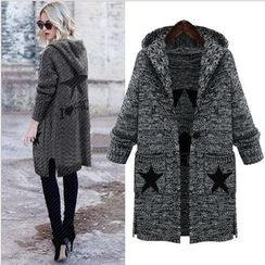 MayFair - Star Print Marled Hooded Long Cardigan