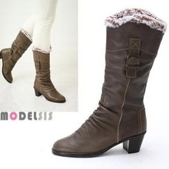 MODELSIS - Genuine Leather Faux-Fur Shirred Boots
