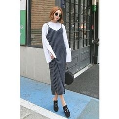 PPGIRL - Spaghetti-Strap Striped Dress