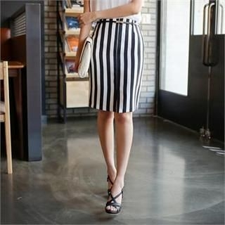 Styleberry - Slit-Front Stripe Pencil Skirt
