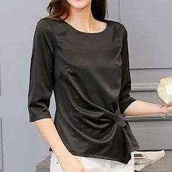 Q.C.T - Plain Elbow-Sleeve Top