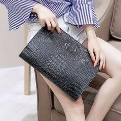 Yiku - Croc-Embossed Faux Leather Clutch