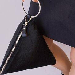 chuu - Faux Calf-Hair Pyramid Hand Bag