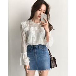 UPTOWNHOLIC - Bell-Sleeve Laced Top