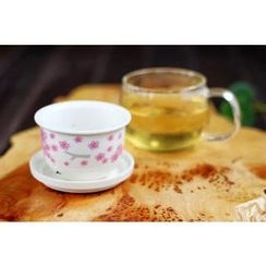 Timbera - Set : Floral Ceramic Filter + Glass Cup