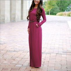 Dream a Dream - Long Sleeve Maxi Dress with Belt