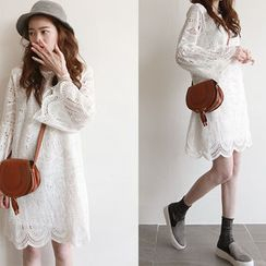 NIPONJJUYA - Set: Bell-Sleeve Lace Shift Dress + Slipdress