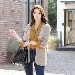 ZIZIBEZIRONG - V-Neck Dual-Pocket Cardigan