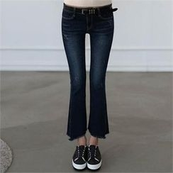 CHICFOX - Washed Boot-Cut Jeans