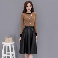 Romantica - Set: Long-Sleeve Contrast-Trim Top + A-Line Skirt