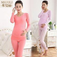 The Mommy Club - Maternity Pajama Set : Fleece-lined Long-Sleeve Top + Pants