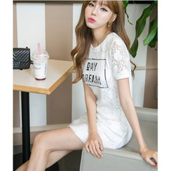 Dowisi - Lace Short Sleeve T-Shirt Dress