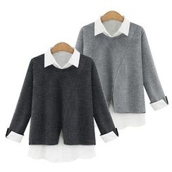 VIZZI - 假兩件長袖上衣