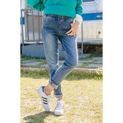 migunstyle - Band-Waist Straight-Cut Jeans