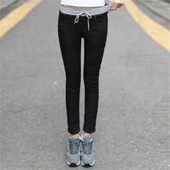 CHICFOX - Drawstring-Waist Skinny Jeans