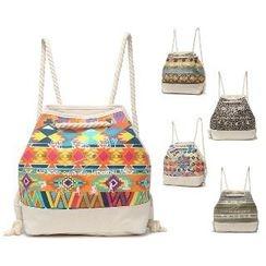 LISEN - Patterned Drawstring Canvas Backpack