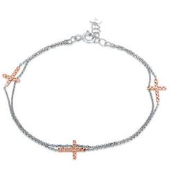 MaBelle - 14K Rose And White Gold Diamond-Cut Cross Bracelet (17.5cm)