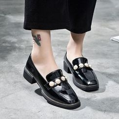 VIAN - Beaded Square Toe Loafers