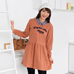 59 Seconds - Embroidered Collared Long-Sleeve Dress