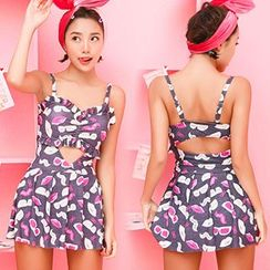 Little Dolphin - Printed Cutout Swimdress