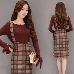 Zella - Set: Tie Cuff Long Sleeve Knit Top + Plaid Suspender Skirt