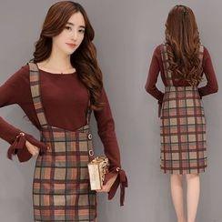 Zella - 套装: 系带袖口长袖针织上衣 + 格子吊带裙