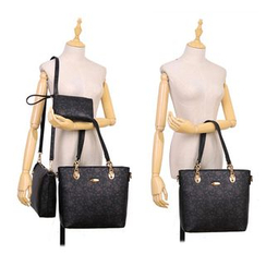 BeiBaoBao - Set of 3: Faux-Leather Printed Tote + Cross Bag + Pouch