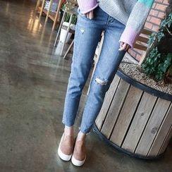 mimi&didi - Fray-Hem Distressed Skinny Jeans
