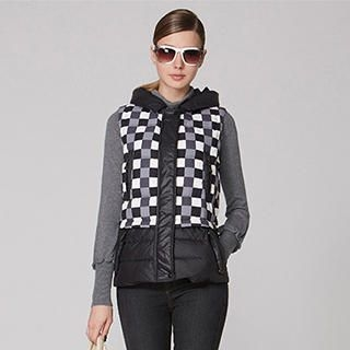 O.SA - Hooded Check Puffer Vest
