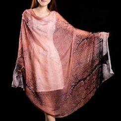 羚羊早安 - 印花真絲圍巾
