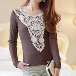 Dowisi - Long-Sleeve Crochet Panel Top