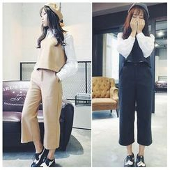 QZ Lady - Set: Cropped Vest + Cropped Straight Cut Pants
