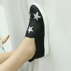 Dodostyle - Star-Sequined Faux-Leather Slip-Ons