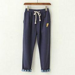 ninna nanna - Embroidered Drawstring Cropped Pants