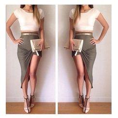 Persephone - Set: Cropped Top + Twist Asymmetric Pencil Skirt