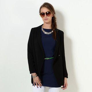YesStyle Z - Padded-Shoulder Snap-Button Long Blazer