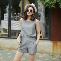 Envy Look - Set: Linen Blend Sleeveless Top +  Linen Blend Elastic-Waist Shorts