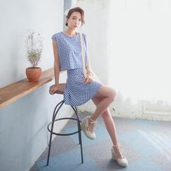 WITH IPUN - Set: Sleeveless Check Cropped Top + Band Waist Check Skirt