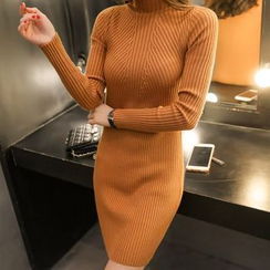anzoveve - Mock-neck Ribbed Knit Dress